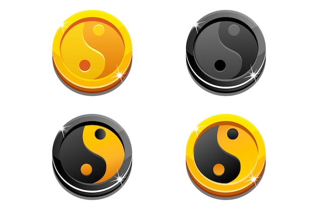 Karikatur goldene münzen yin yang auf weiß
