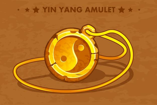 Karikatur goldener kreis altes amulett yin yang