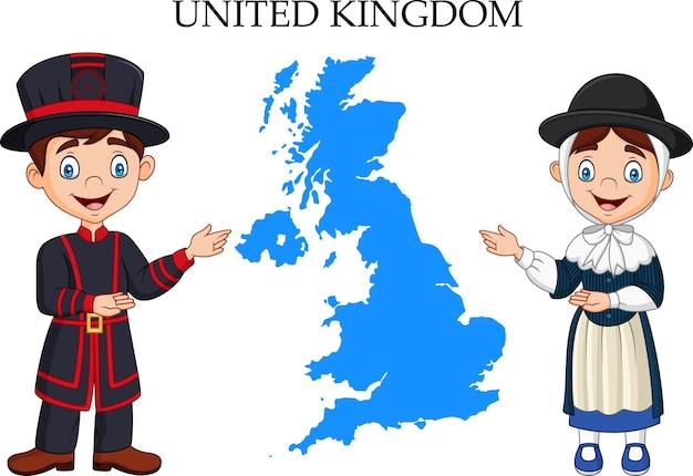 Karikatur-großbritannien-paare, die traditionelles kostüm tragen