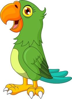 Karikatur grüner ara lokalisiert auf weiß