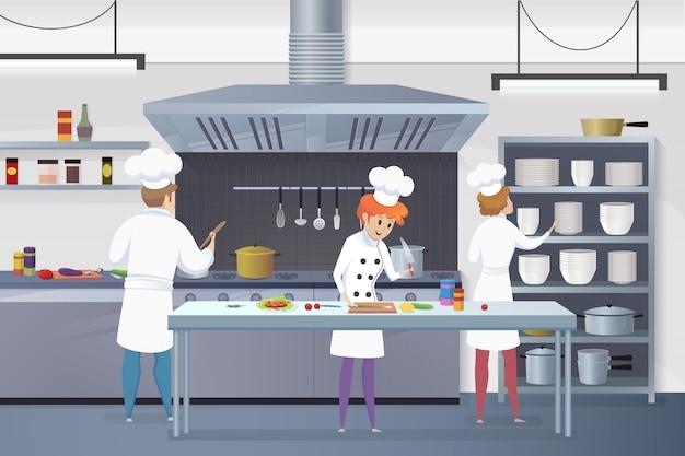 Karikatur gruppiert die köche, die in der küche arbeiten