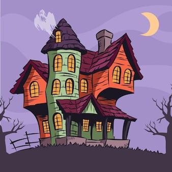 Karikatur halloween haus