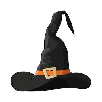 Karikatur halloween schwarzer hexenhut lokalisiert auf weiß