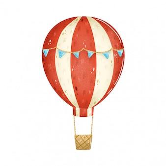 Karikatur-heißluftballon mit rotem streifen und blauen flaggen lokalisiert