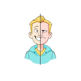 Karikatur-hipster junger mann mit der hälfte der glücklichen und wütenden gesichtsgrafikillustration