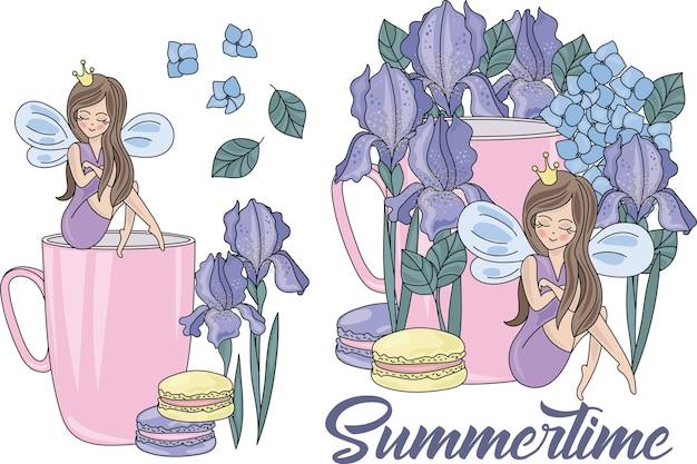 Karikatur-hochzeits-clipart-farbvektor-illustrations-satz