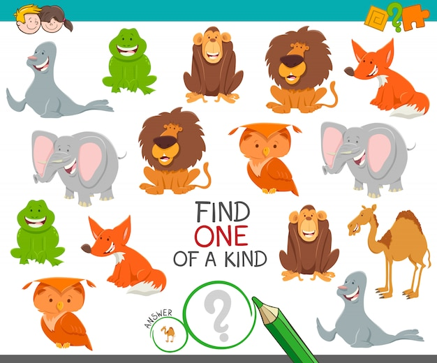 Karikatur-illustration der entdeckung eins eines netten bild-bildungsaktivitäts-spiels mit lustigen wilden tiercharakteren