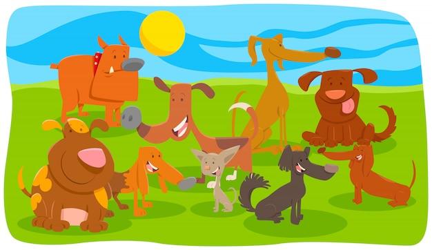 Karikatur-illustration der hundetiercharakter-gruppe