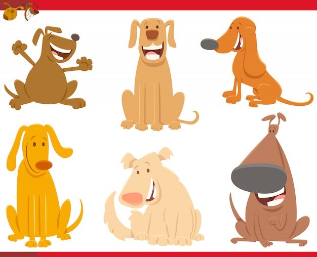 Karikatur-illustration der hundetiercharaktere eingestellt
