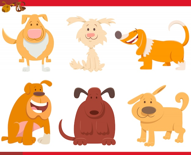 Karikatur-illustration der lustigen hundesammlung