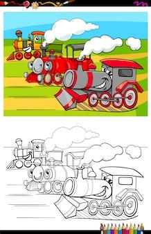 Karikatur-illustration der lustigen lokomotiven-fahrzeug-charakter-gruppen-malbuch-tätigkeit