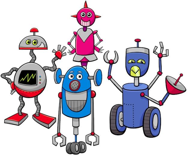 Karikatur-illustration der roboter-charakter-gruppe