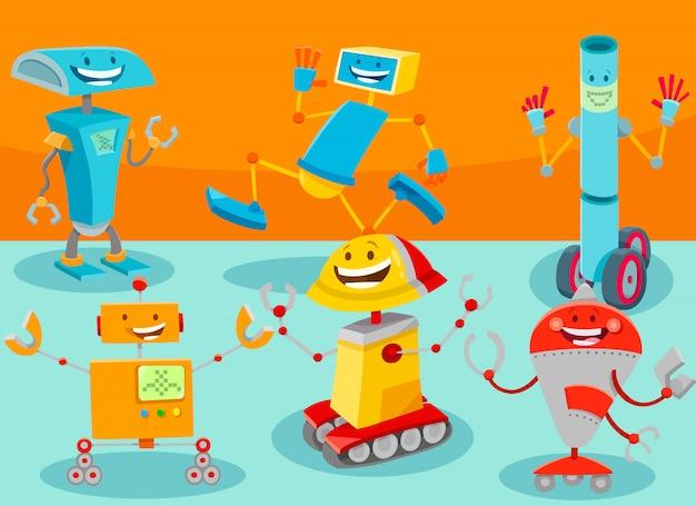 Karikatur-illustration der roboter-zeichen-gruppe