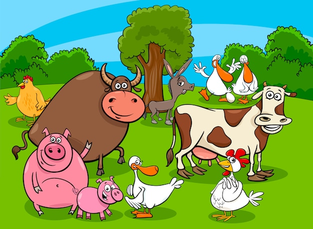 Karikatur-illustration der vieh-charakter-gruppe