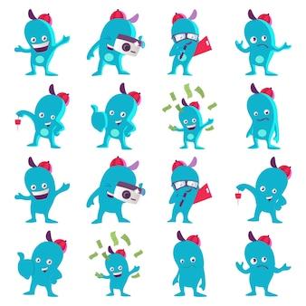 Karikatur-illustration des blauen monstersatzes