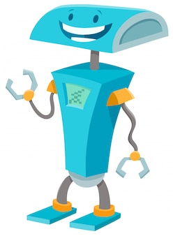Karikatur-illustration des blauen roboter-fantasie-charakters