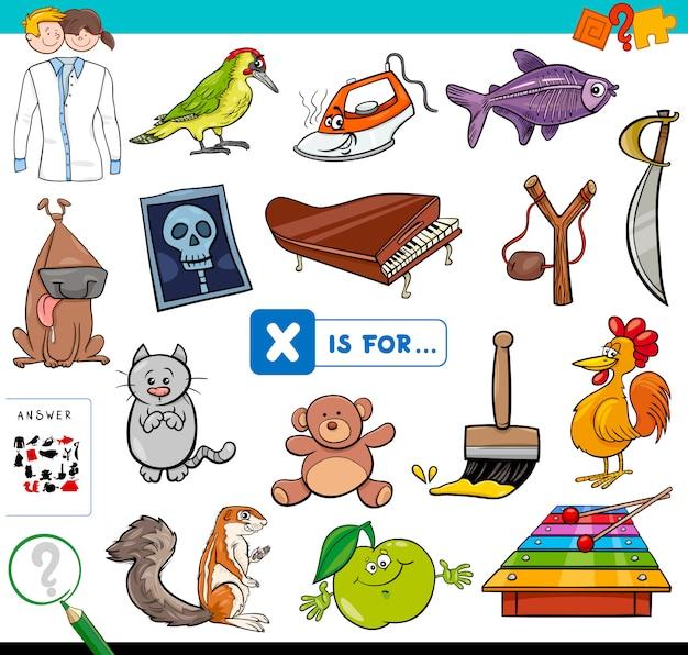 Karikatur-illustration des findens des bildes, das mit lernspiel-arbeitsbuch des buchstaben x beginnt für kinder