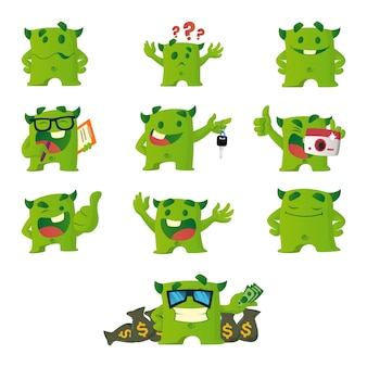Karikatur-illustration des grünen monstersatzes.