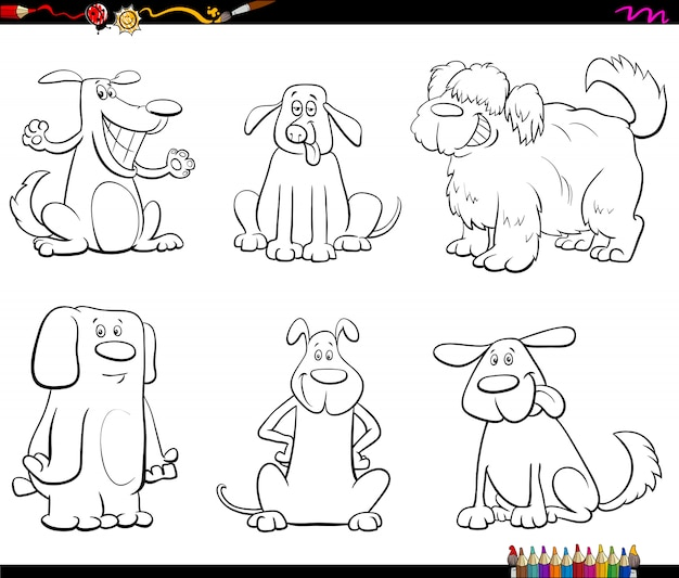 Karikatur-illustration des hundezeichen-farbbuches