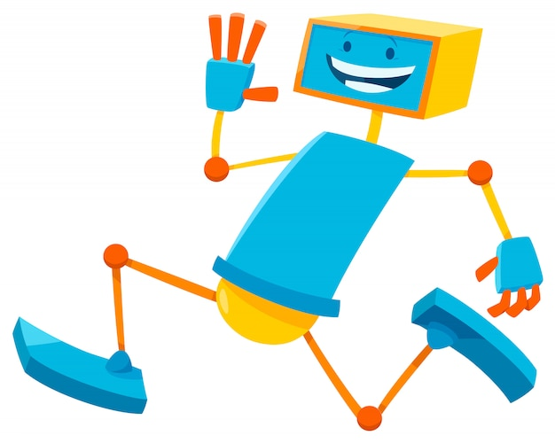 Karikatur-illustration des laufenden roboter-zeichens