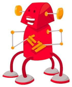 Karikatur-illustration des roten roboter-fantasie-charakters