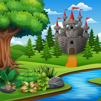 Karikatur-illustration des schlosses auf hügel landschaft