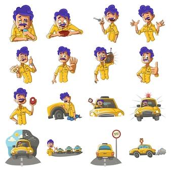 Karikatur-illustration des taxifahrer-sets