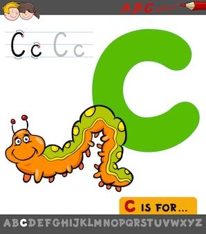 Karikatur-illustration von buchstaben c mit caterpillar
