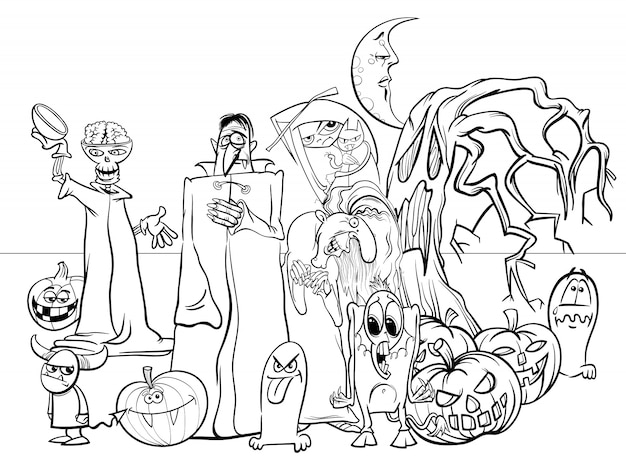 Karikatur-illustration von halloween-feiertags-furchtsamen charakter-malbuch