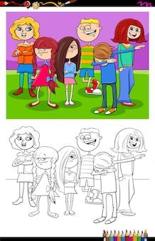 Karikatur-illustration von kinder-und teenager-charakteren-malbuch-tätigkeit