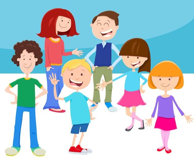 Karikatur-illustration von kindern oder von jugendlichen eingestellt