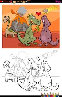 Karikatur-illustration von lustigen dinosaurier-charakteren in der liebes-malbuch-tätigkeit