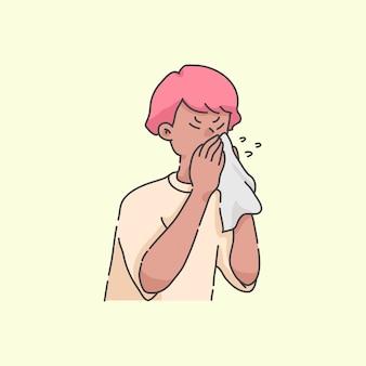 Karikatur-illustrationskonzept des niesenden jungenkranken