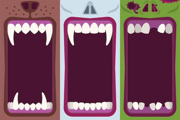 Karikatur-illustrationssatz des halloween-monstermunds flacher
