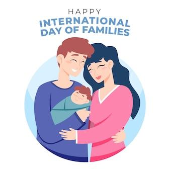 Karikatur internationaler tag der familienillustration