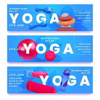 Karikatur internationaler tag der yoga-banner gesetzt