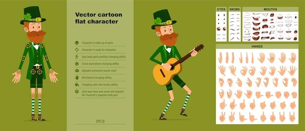 Karikatur irischer koboldcharakter großer vektorsatz