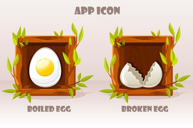 Karikatur isolierte eier im hölzernen quadrat der zweige. set gekochtes und zerbrochenes ei.