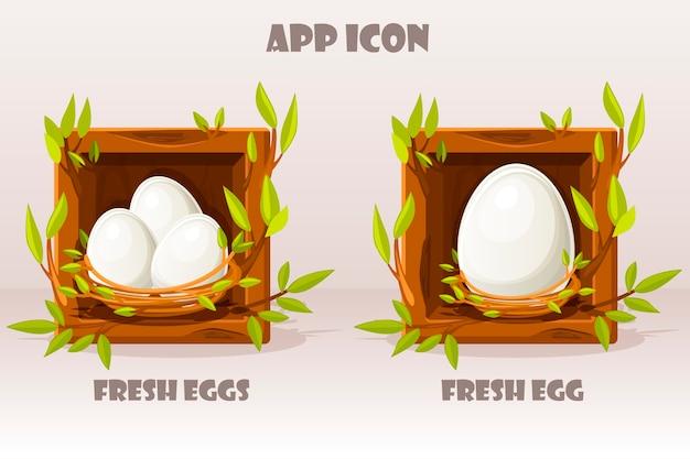 Karikatur isoliertes ei im hölzernen quadrat der zweige. satz frische eier im vogelnest der zweige.