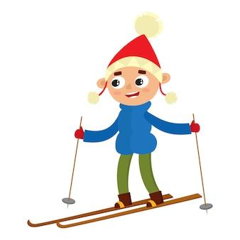 Karikatur jugendlicher junge mit ski, karikaturillustration lokalisiert auf weißem hintergrund. porträt in voller höhe des teenagers auf skiern, lustige winteraktivität, freizeit im freien
