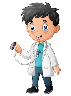 Karikatur junger arzt, der stethoskop hält