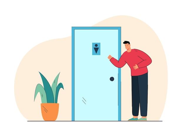 Karikatur junger mann, der nahe toilettentür steht
