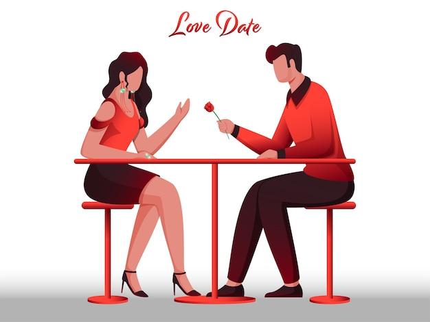 Karikatur junger mann, der seiner freundin am restaurant-tisch eine rose für liebes-dating-konzept gibt