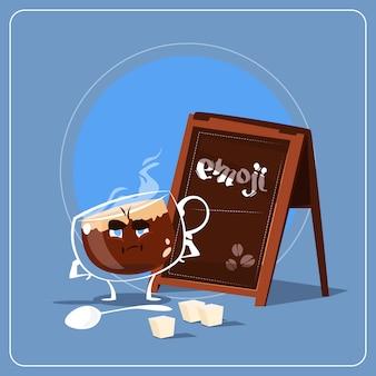 Karikatur-kaffeetasse-trauriges müdes gesichts-leute emoji