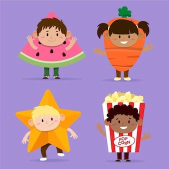 Karikatur karneval kinderkostüme eingestellt