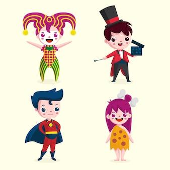 Karikatur karneval kinderkostüme stehen