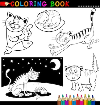 Karikatur-katzen für malbuch oder seite