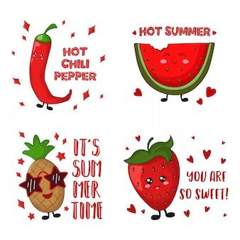 Karikatur kawaii nahrung - ananas, paprikapfeffer, erdbeere, wassermelone