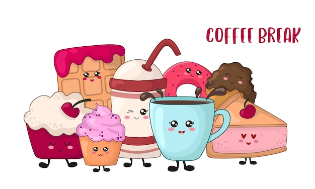 Karikatur kawaii nahrung - schokoladenplätzchen, kuchen, donut