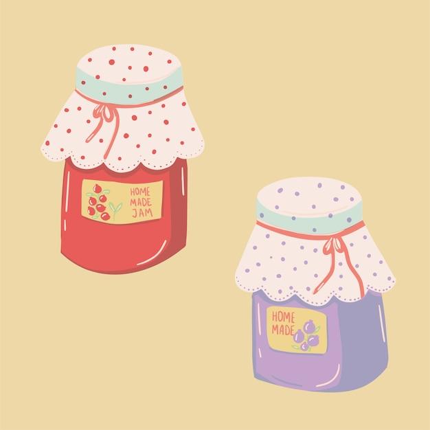 Karikatur kawaii niedliches glas der marmeladenillustration